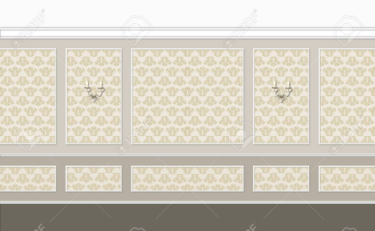 fragment of classic interior in beige color with golden elements Stock Photo - 18791475