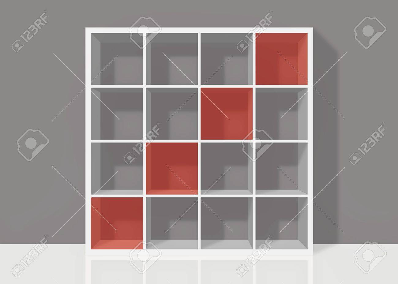 White Empty Bookshelf Composed Of Sixteen Boxes With Red Diagonal