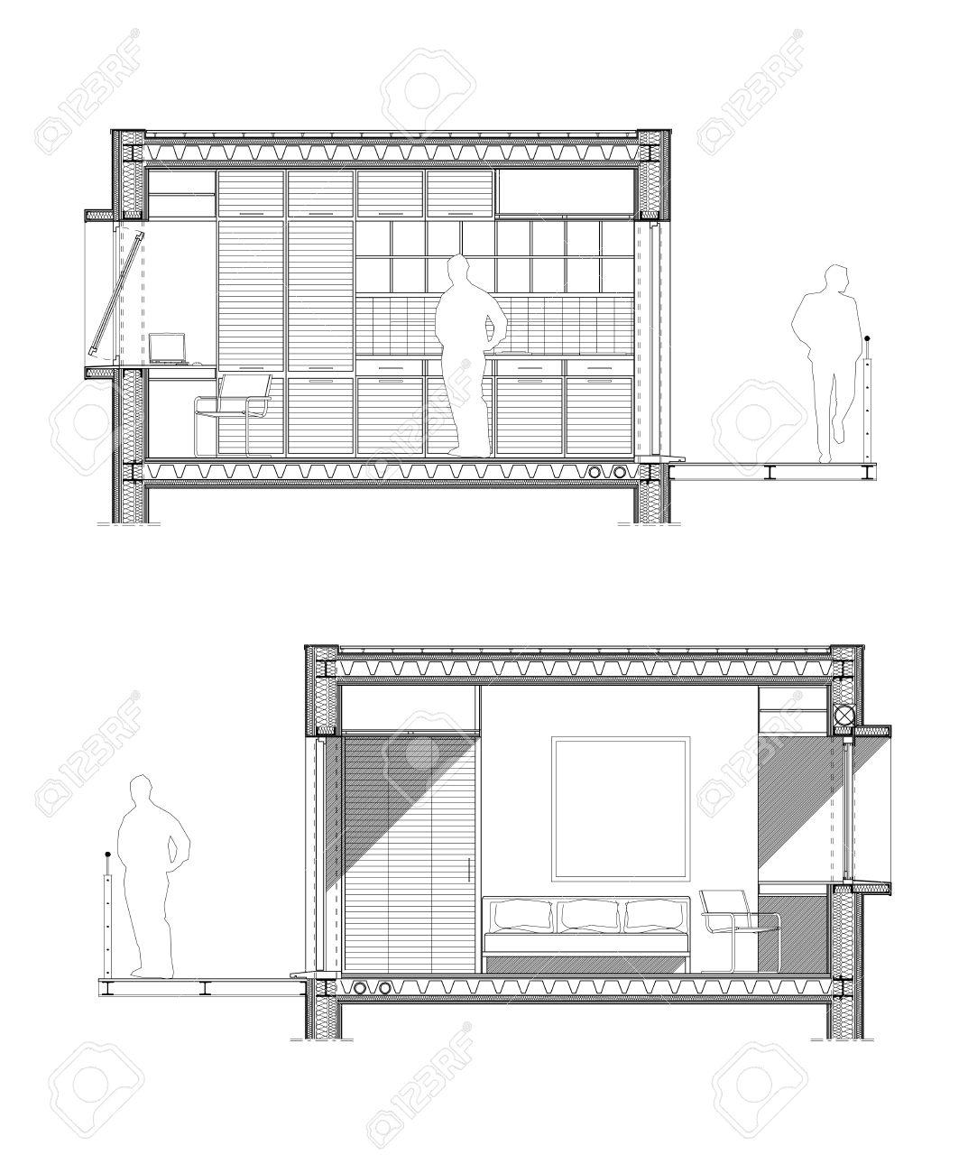 Dessin D\'architecte Technique D\'une Section D\'une Chambre D\'étudiant ...