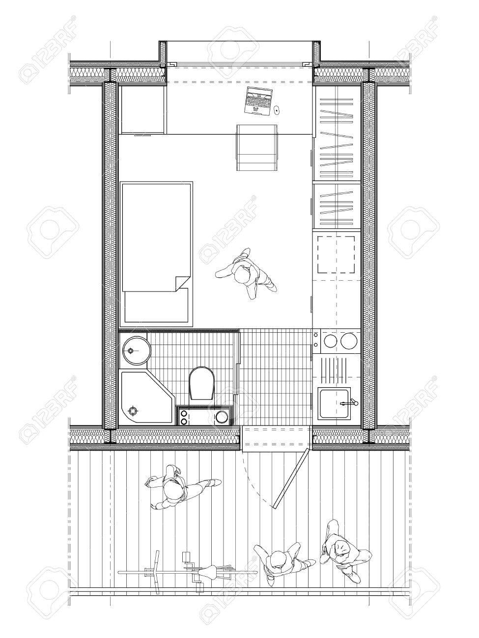 Dessin d\'architecte technique d\'un plan d\'une chambre d\'étudiant de 9  mètres carrés avec des détails de l\'aménagement intérieur