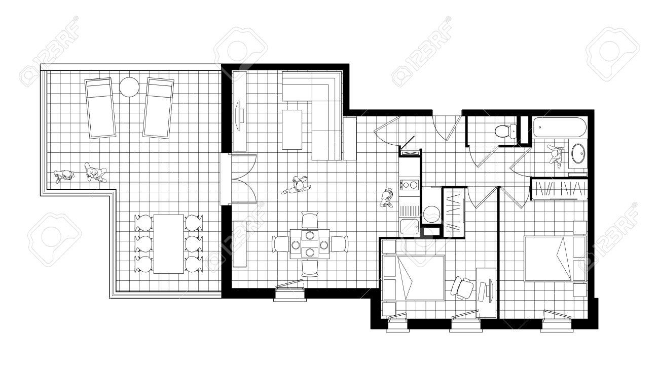 Vue de dessus dun intérieur dappartement de trois pièces avec une terrasse