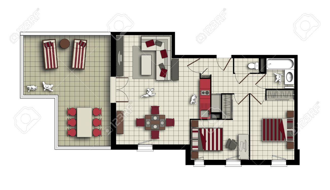 Draufsicht Eines Inneren Drei-Zimmer-Wohnung Mit Terrasse In Beige ...