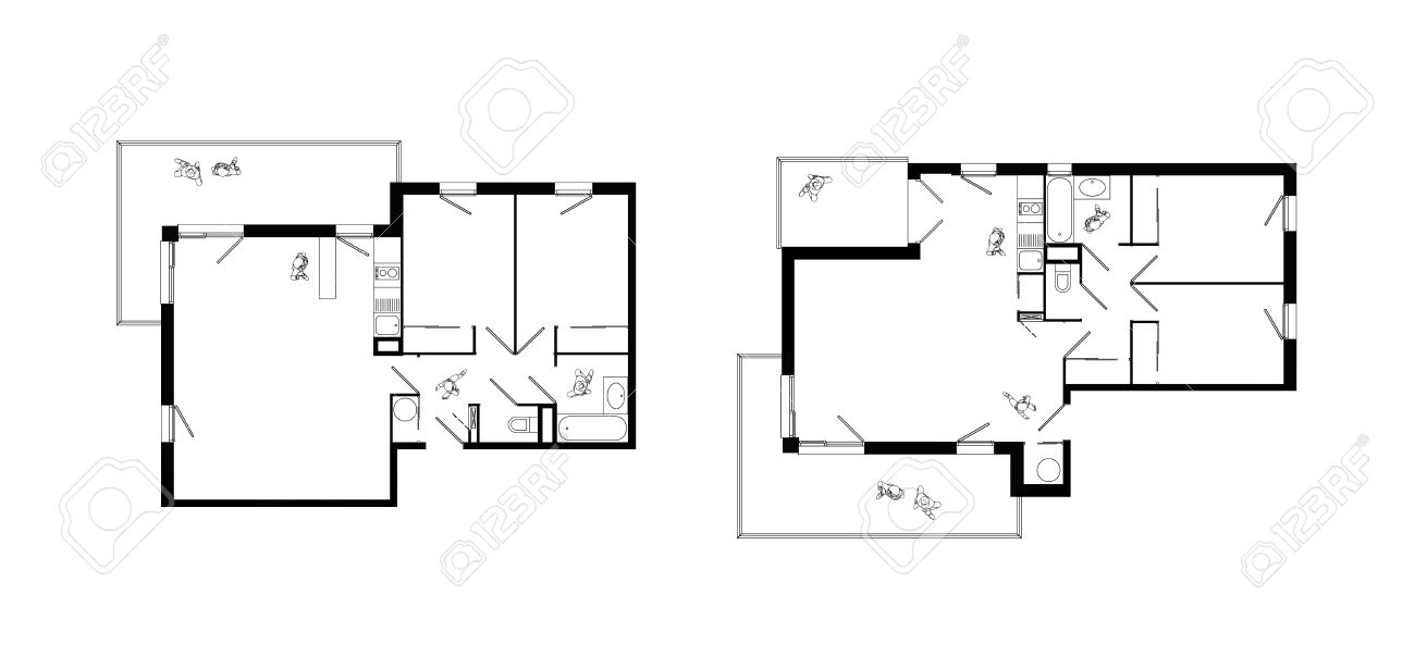 top view of interiors of two three-rooms apartments with living room, two bedrooms, kitchen, bathroom, wc and balcony Stock Photo - 20669738
