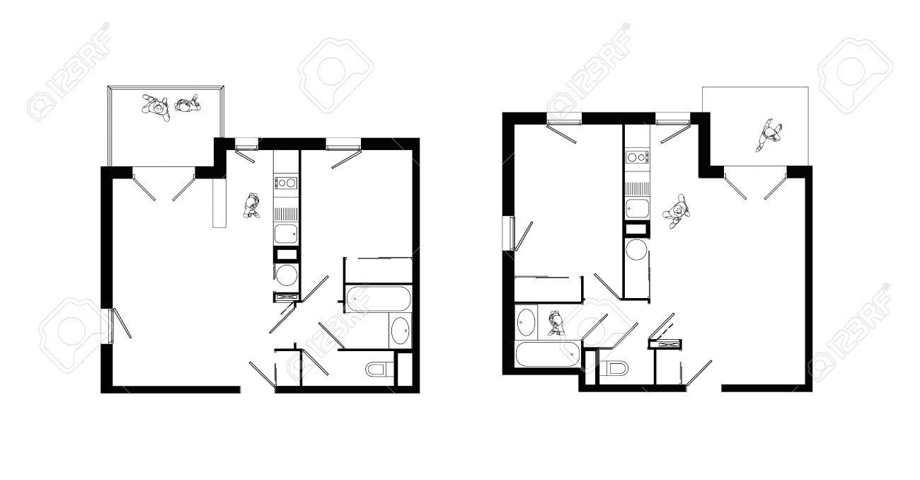 Zwei Zimmer Küche Bad | Draufsicht Des Interieurs Von Zwei Kleinen Zwei Zimmer Apartments