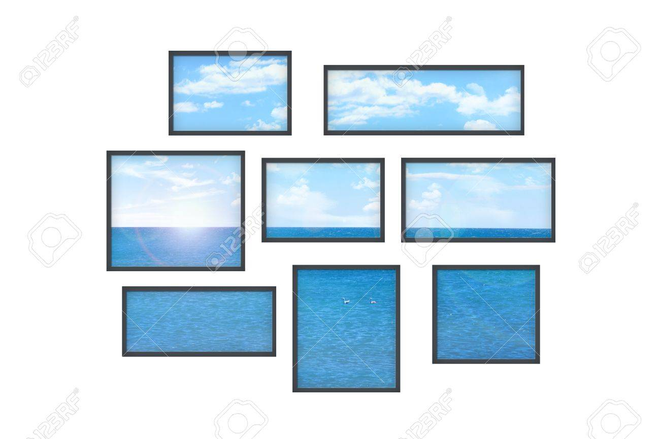 composition of several isolated windows of different size on a white wall with a view on a sea landscape Stock Photo - 21046875