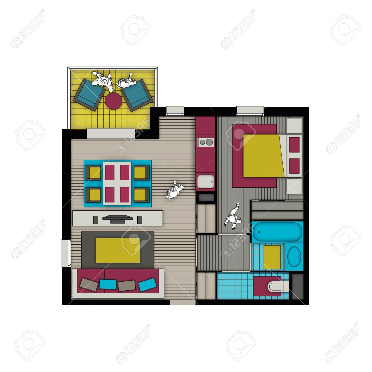 Draufsicht Innere Einer Kleinen Zwei Zimmer Wohnung Mit Wohnzimmer ...