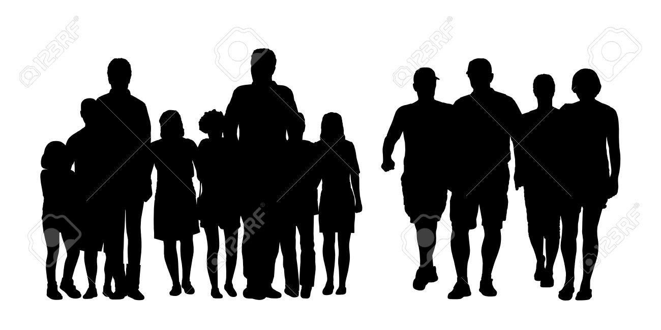 black silhouettes of two big groups of people of different sex