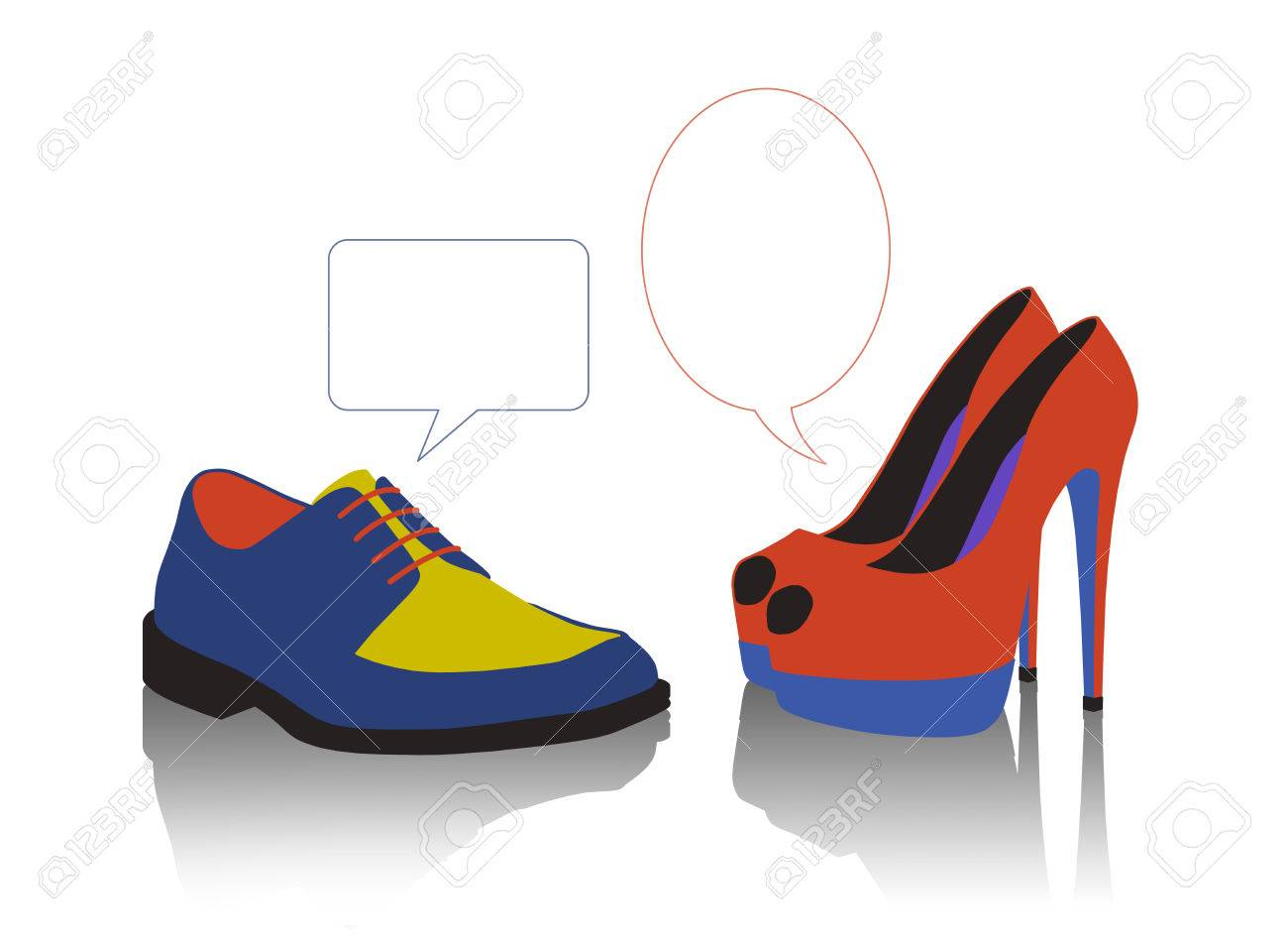 unequal dialogue between a colorful man s and woman s shoes Stock Photo - 23481529