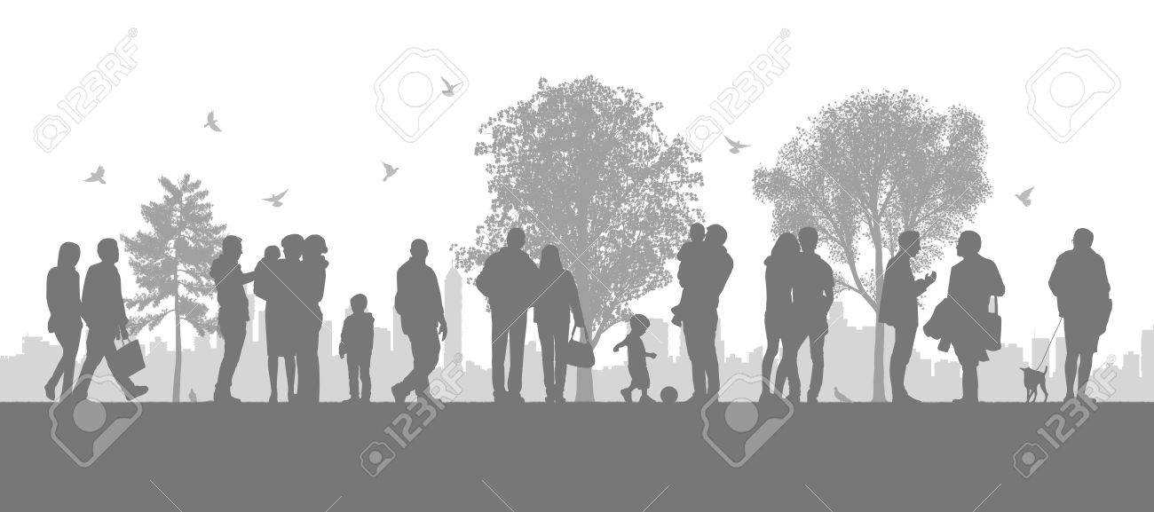 illustration of a panoramic urban scene of people walking in the parc looking on the city silhouette Stock Illustration - 24439003