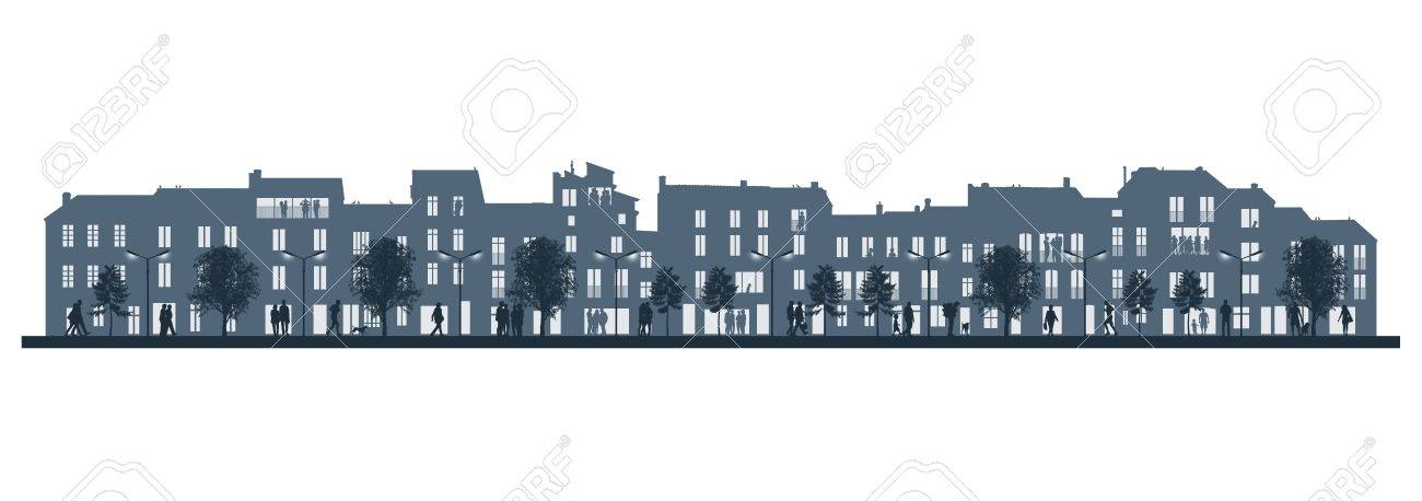 Illustration Dune Vie De Taille Moyenne De La Ville Dans La Soirée - Taille moyenne d une maison