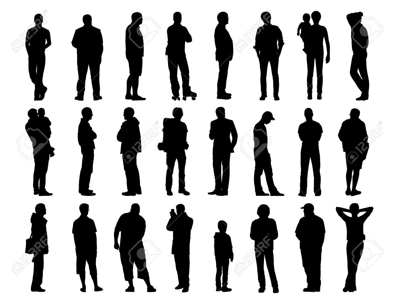 Sagome Persone Nere.Grande Insieme Di Sagome Nere Di Uomini Di Diverse Eta In Piedi In Diverse Posture Il Viso Il Profilo E Posteriore