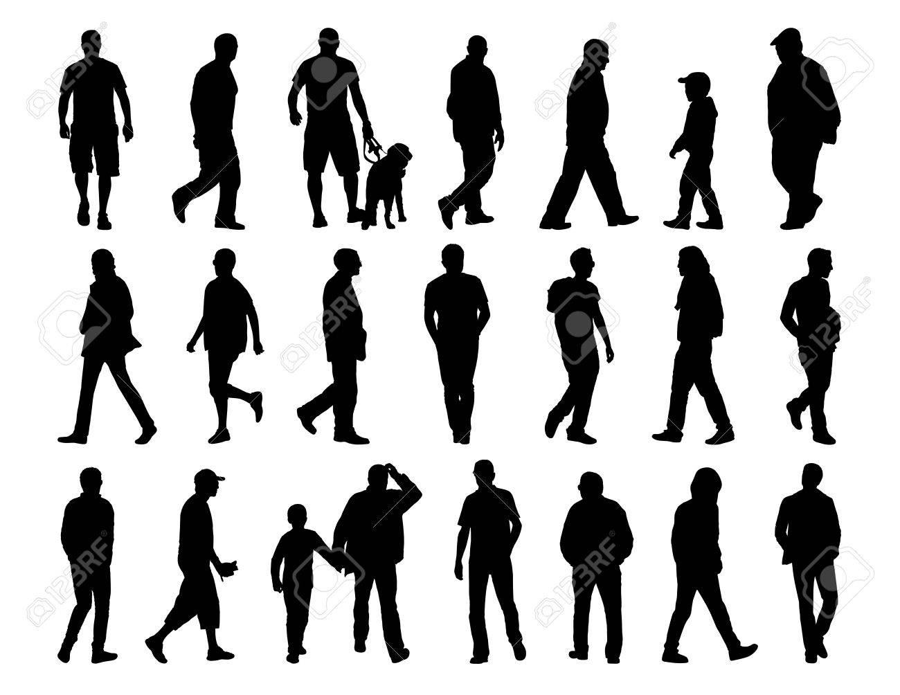Sagome Persone Che Camminano.Grande Insieme Di Sagome Nere Di Uomini Di Diverse Eta Che Camminano Per La Strada