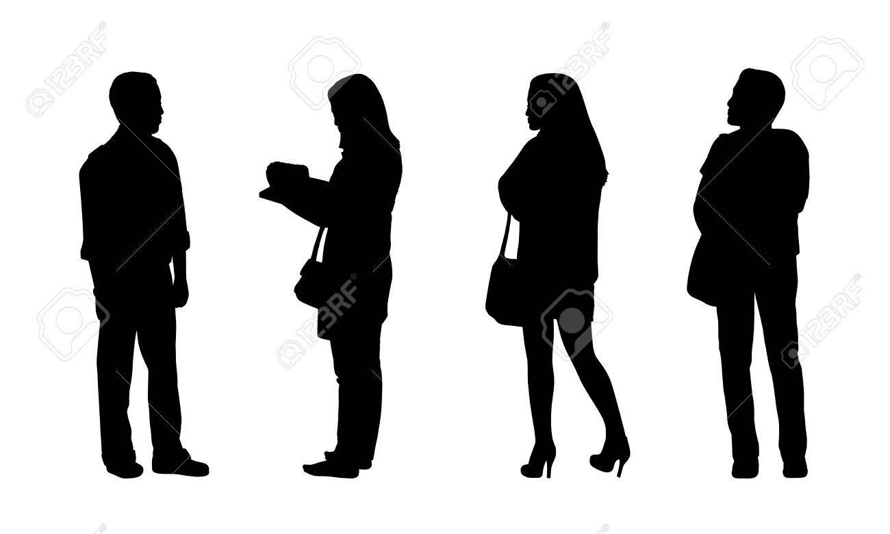 Foto de archivo - Siluetas negras de hombres y mujeres jóvenes asiáticos de  pie al aire libre en diferentes posturas 58d083ffb184