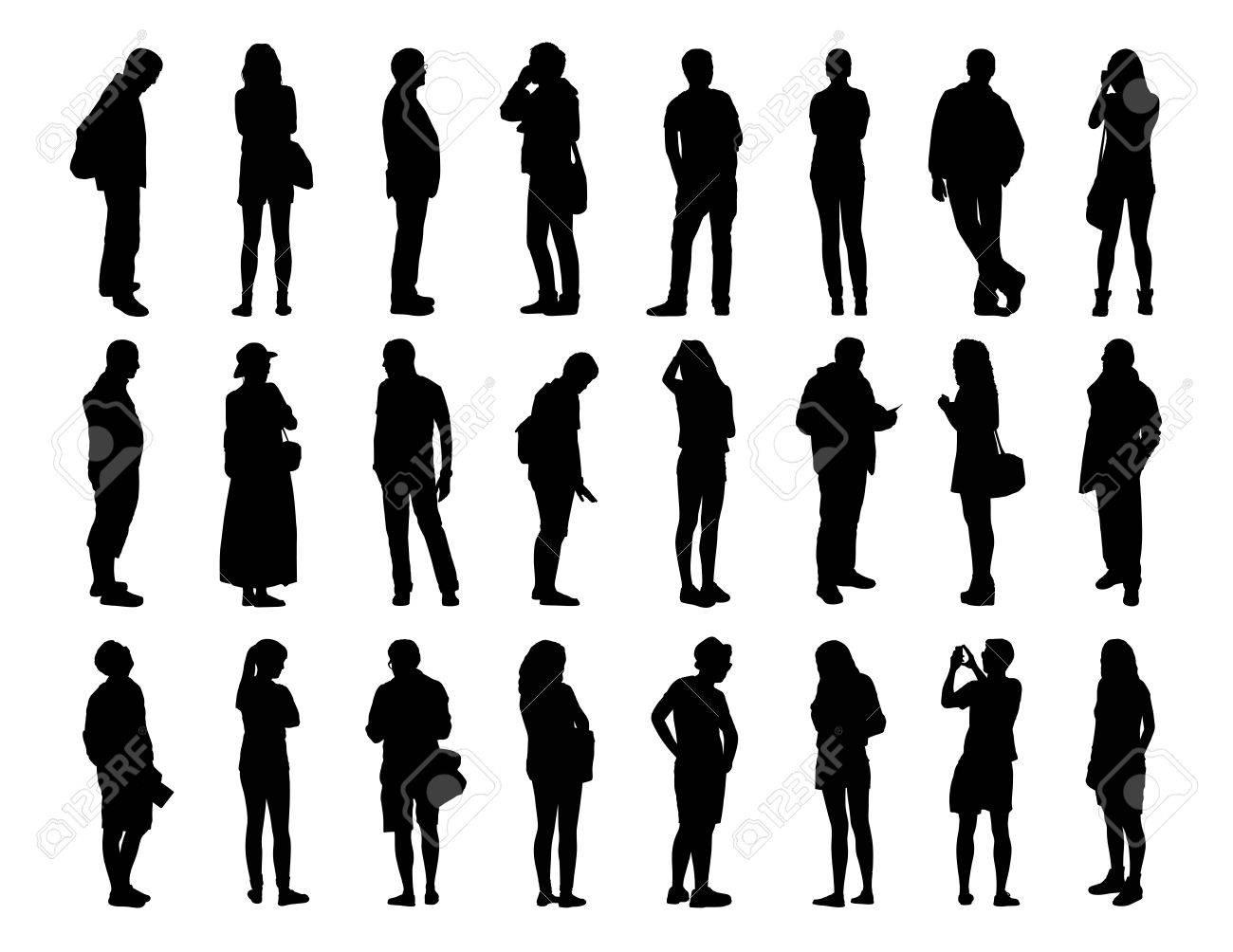 Sagome Persone Nere.Grande Insieme Di Sagome Nere Di Uomini E Donne Di Diverse Eta In Piedi In Diverse Pose Volto Profilo E Vista Posteriore