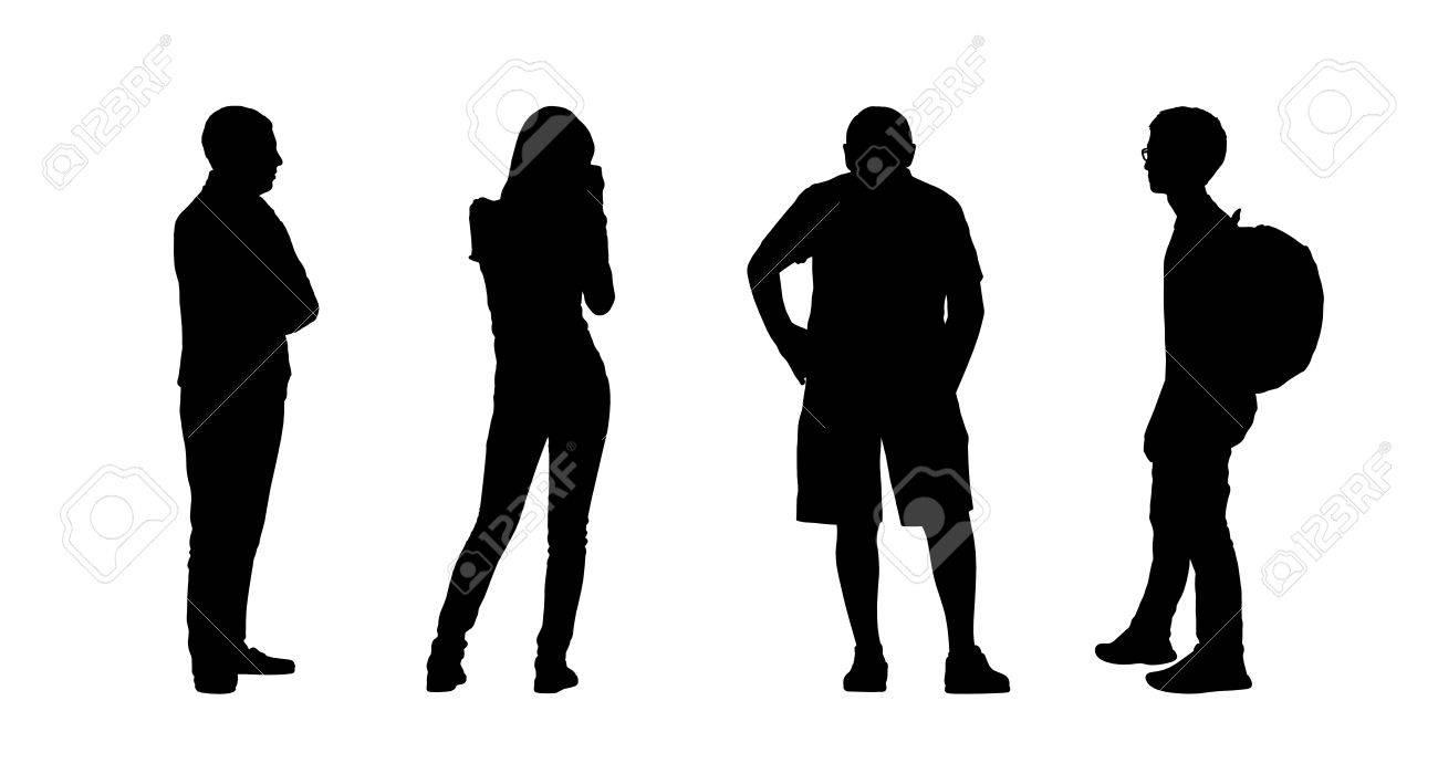 Immagini Sagome Persone.Sagome Di Persone Comuni Di Diversa Eta In Piedi All Aperto In Diverse Posture Profilo E Vista Posteriore