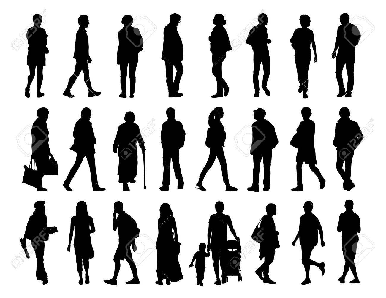 Sagome Persone Che Camminano.Grande Insieme Di Sagome Nere Di Uomini E Donne Di Diverse Eta Che Camminano Per La Strada Davanti Il Profilo E La Vista Posteriore