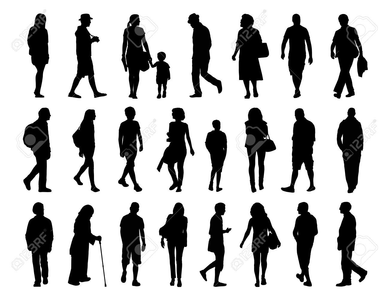 Sagome Persone Nere.Grande Insieme Di Sagome Nere Di Uomini E Donne Di Diverse Eta Che Camminano Per La Strada Davanti Il Profilo E La Vista Posteriore