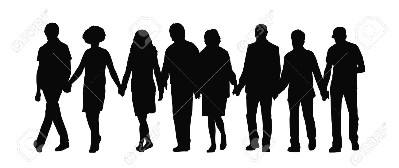 silhouette of group of people holding hands and walking their