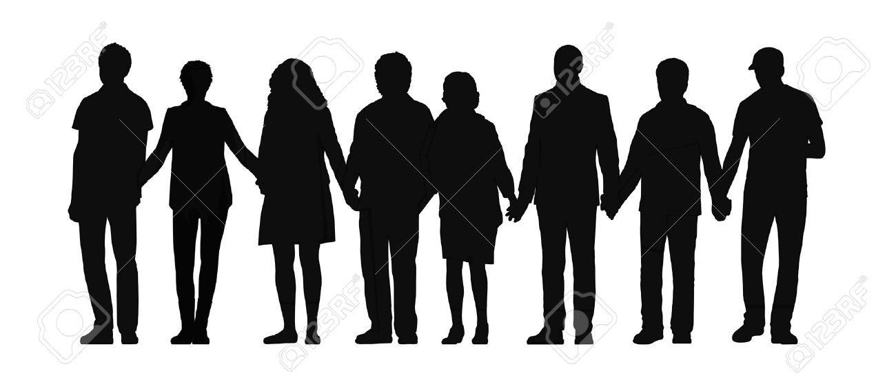 silhouette of group of people standing their hands holding all