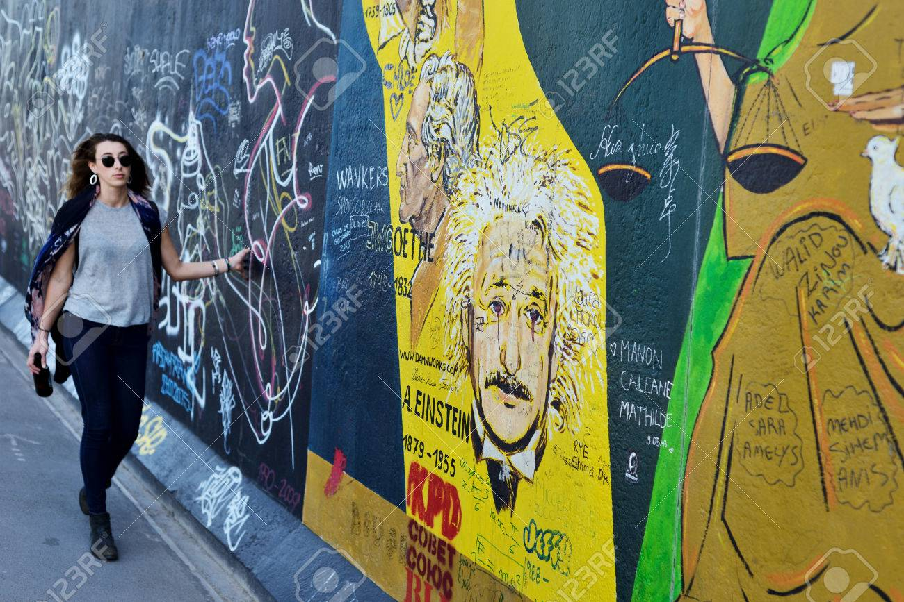 BERLIN, GERMANY - June 17: Berlin Wall Graffiti Seen On June.. Stock ...