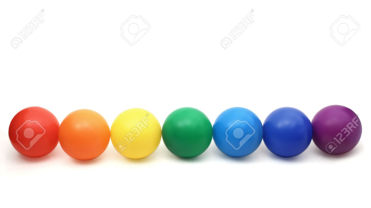 seven color balls - red, orange, yellow, green cyan, blue and magenta in a row on a white background Stock Photo - 6582600