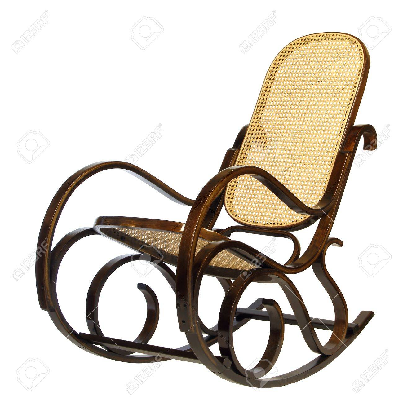 Dark Brown Rocking Chair With Yellow Braided Back And Seat Stock Photo    9351410