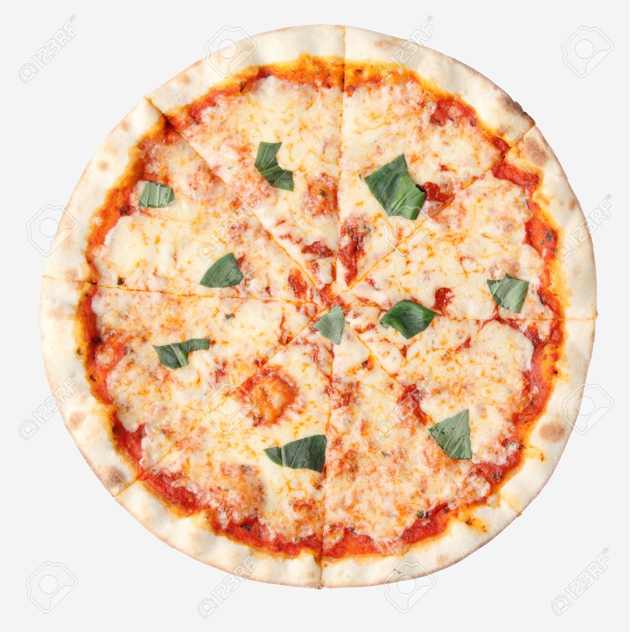 Pizza Margherita Isolated Over White Background Top View Stock Photo