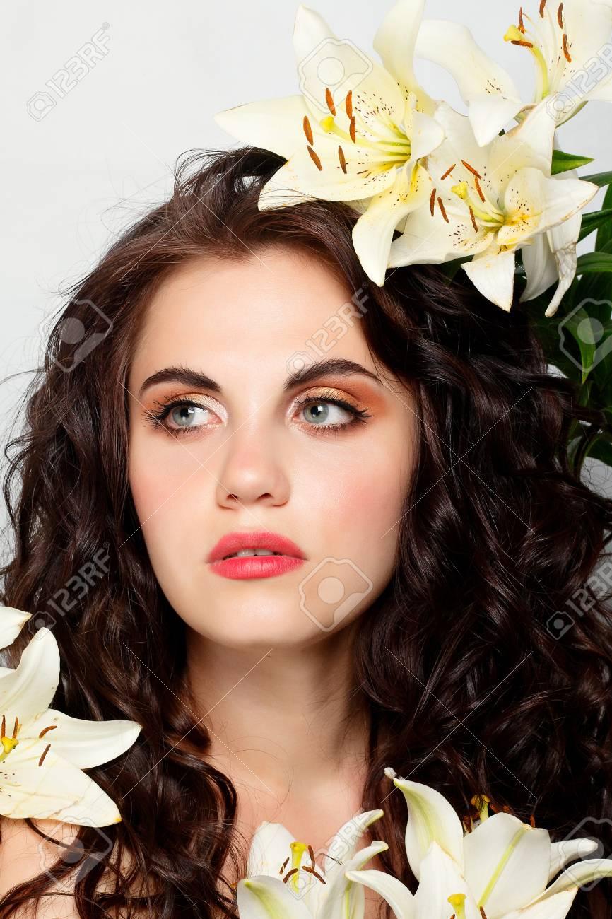 Leute Gefühle Natürliches Schönheit Blumen Und Lebensstilkonzept