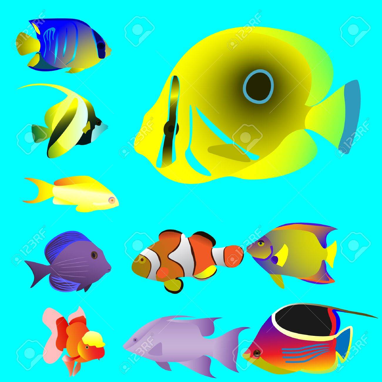 Ten bright oceanic small fishes. Vector. Without mesh. - 4767892