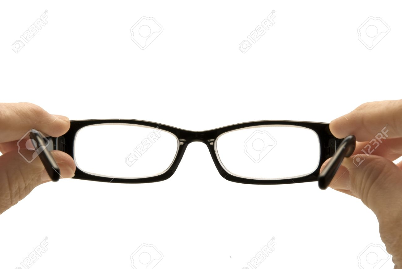 looking through a pair of eyeglasses from the wearer s perspective