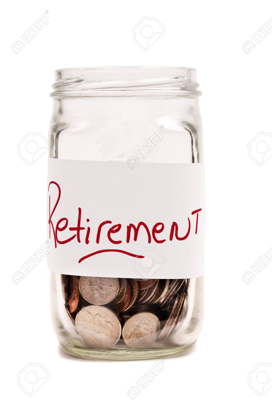 Money In Jar For Retirement XXXL Isolated On White Stock Photo - 17926489