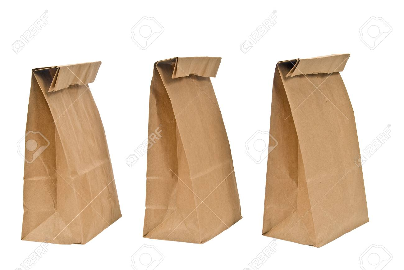 a442ee68294d Three Brown Paper Lunch Bags On White Background