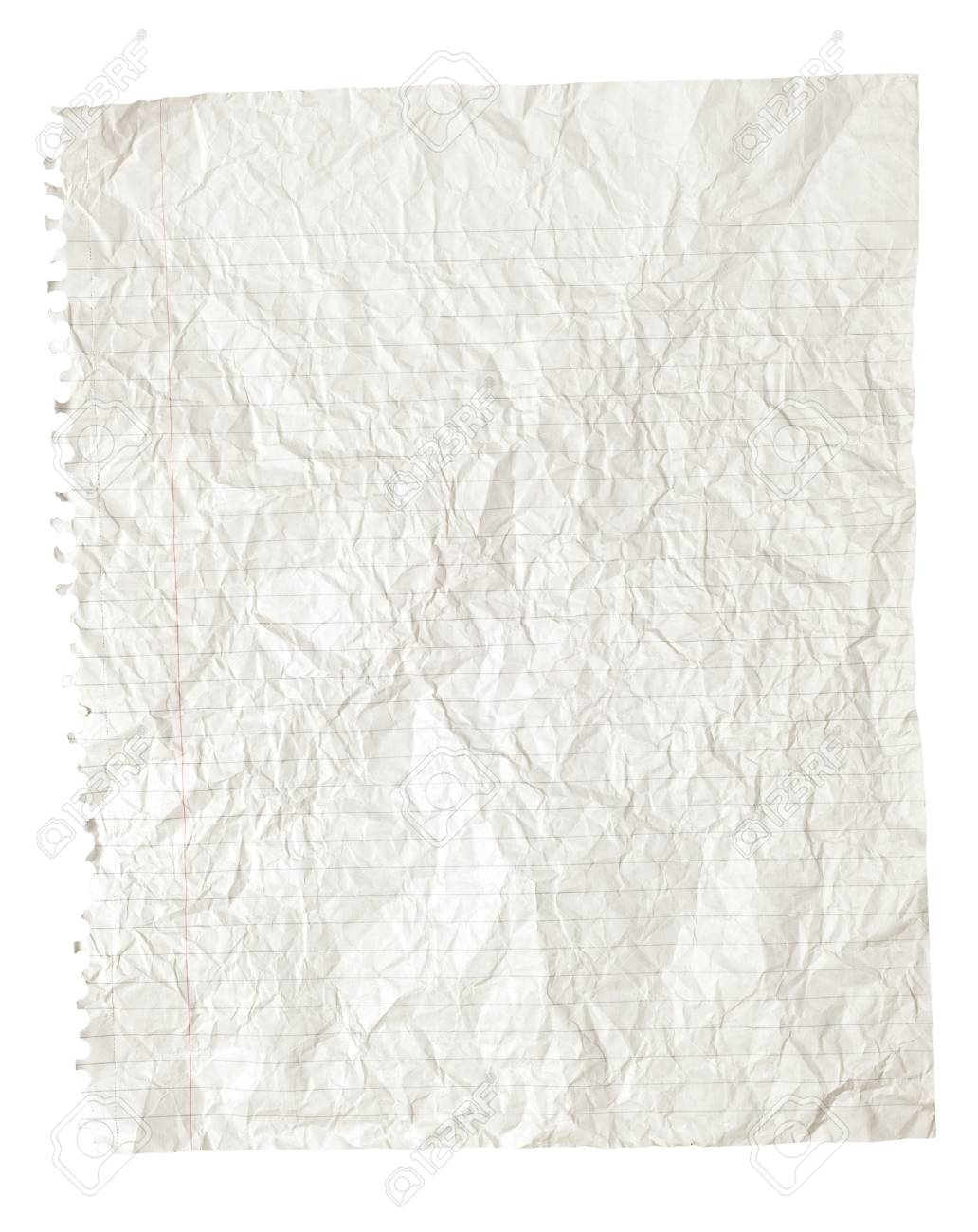 white crinkled or crumpled ruled paper background stock photo