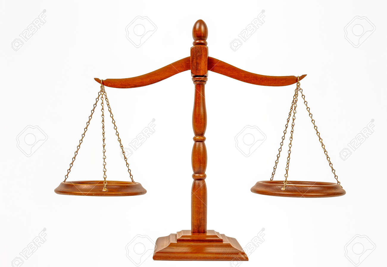 Horizontal shot of the scales of justice on a white background. - 166405044