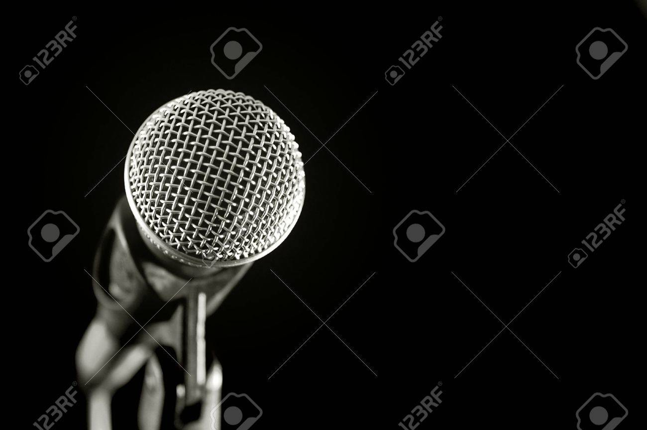 vocal microphone isolated on black Stock Photo - 2619160