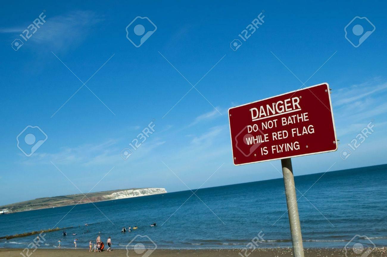 Beach Danger Signs Danger Warning Sign on a Beach