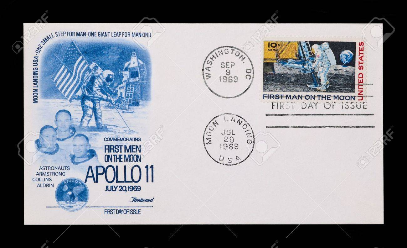 First Day Stamp Issue Celebrating The Manned Moon Landing Stock Photo