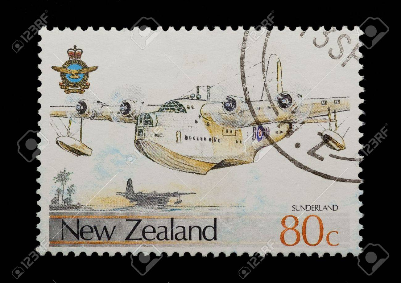 new zealand mail stamp featuring the Sunderland flying boat Stock Photo - 6336403