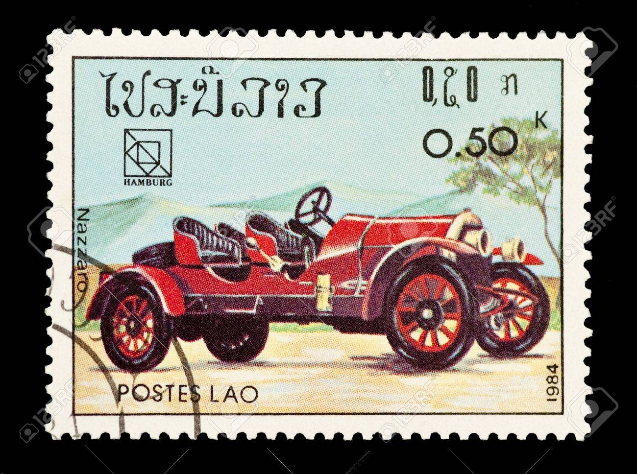 mail stamp printed in Laos featuring a vintage Nazzaro sports car Stock Photo - 6655358