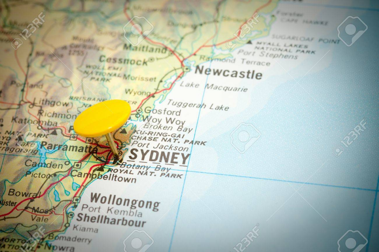 Map Marked With The Location Of Sydney In Australia Stock Photo