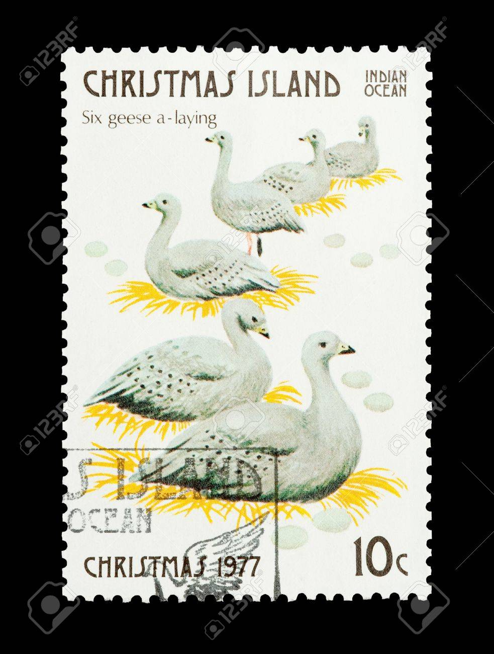 Christmas Island mail stamp featuring the sixth gift from the Twelve Days of Christmas Stock Photo - 8702733