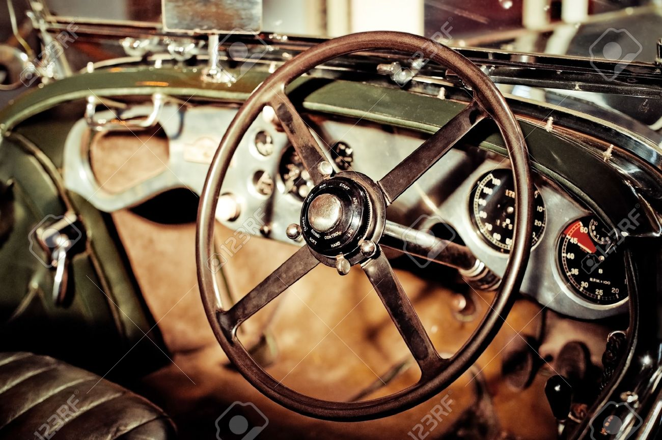 Grunge Effect Classic Car Steering Wheel And Dash Stock Photo