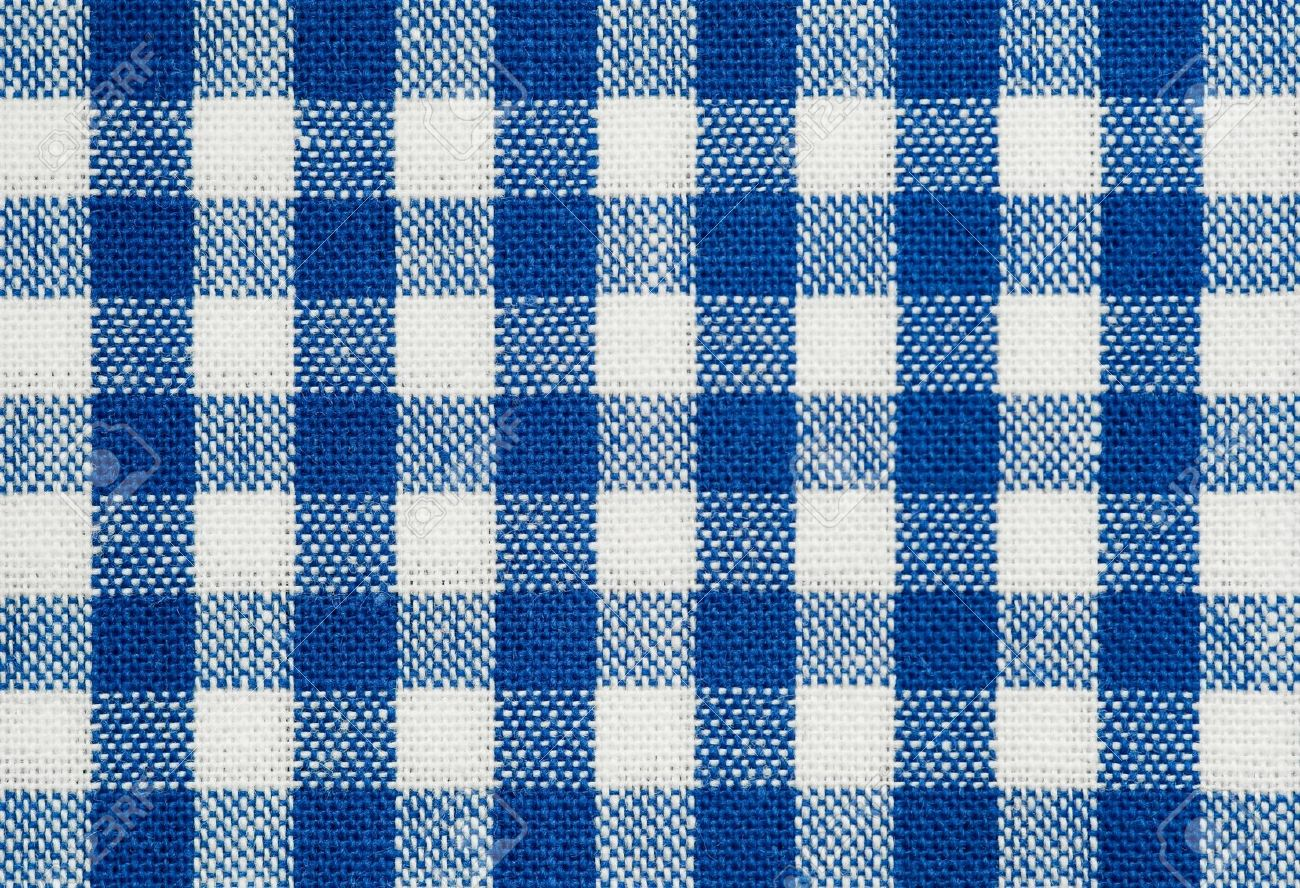 Charming Background Of Blue And White Check Tablecloth Fabric Stock Photo   9104616