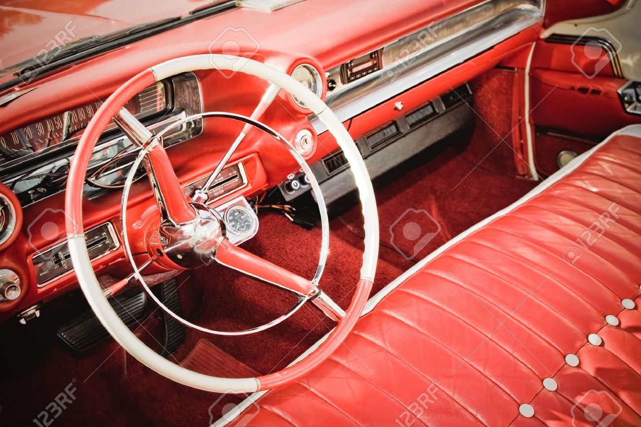 Retro Styled Classic Car Interior With Red Leather Upholstery