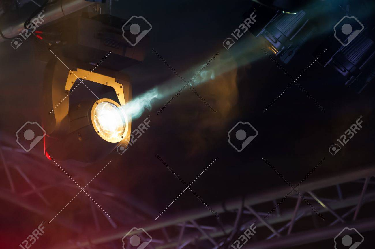 Single Spotlight On A Theatre Stage Lighting Rig Stock Photo