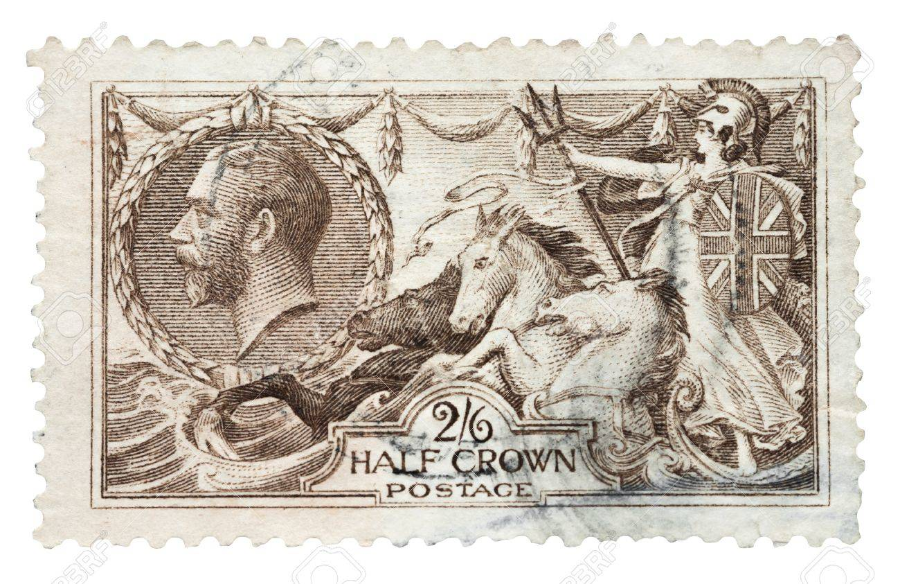 King George V, Britannia and seahorses mail stamp, printed in the UK, circa 1915 Stock Photo - 15453314