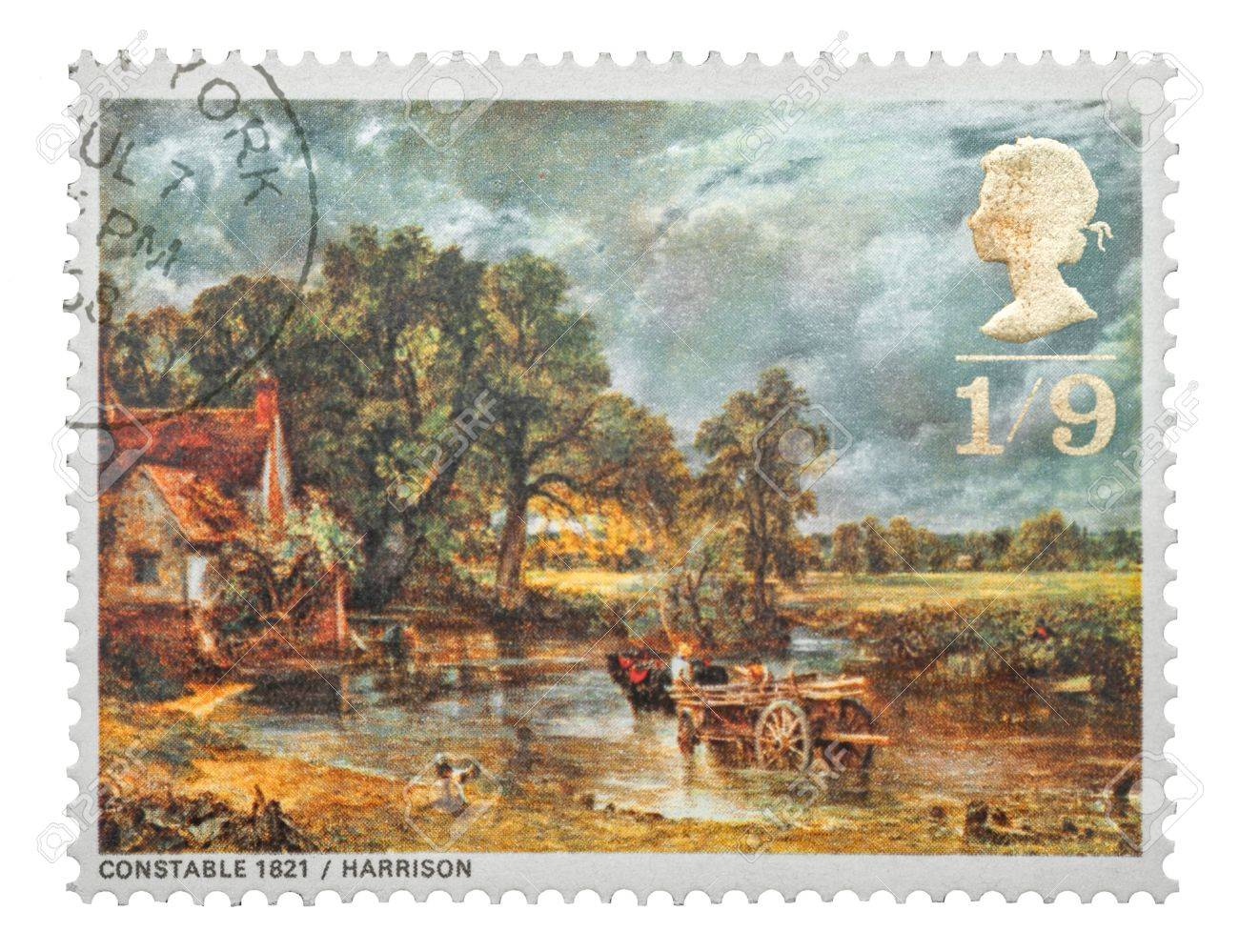 Mail stamp printed in the UK featuring the famous 19th century painting, The Hay Wain, by John Constable, circa 1968 Stock Photo - 15485641