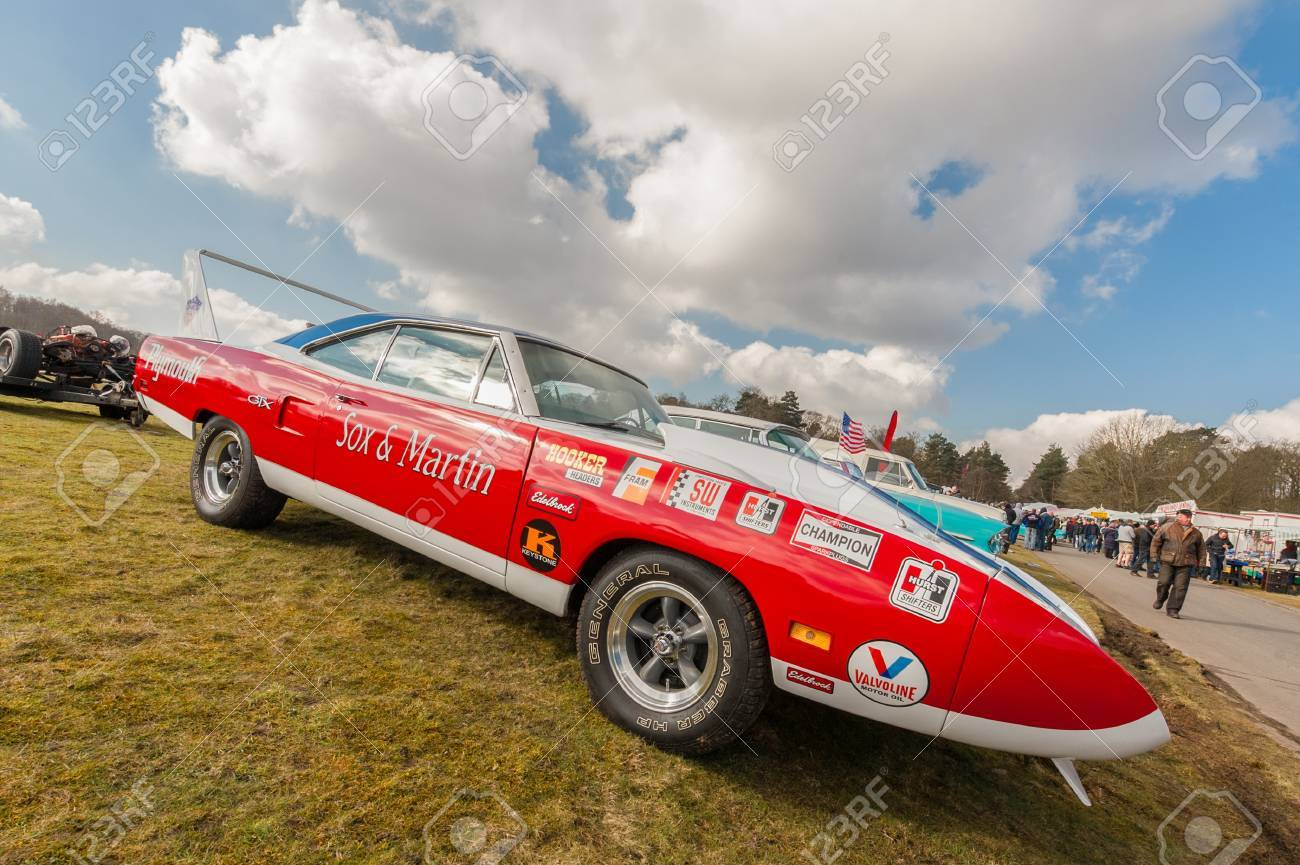 Farnborough, UK - March 29, 2013: Sox and Martin Plymouth GTX dragster on display at the annual Wheels Day auto and bike show. Stock Photo - 18800335