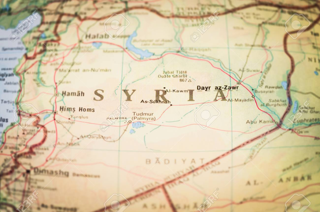 Map Of The Middleeast Region Of Syria Stock Photo Picture And