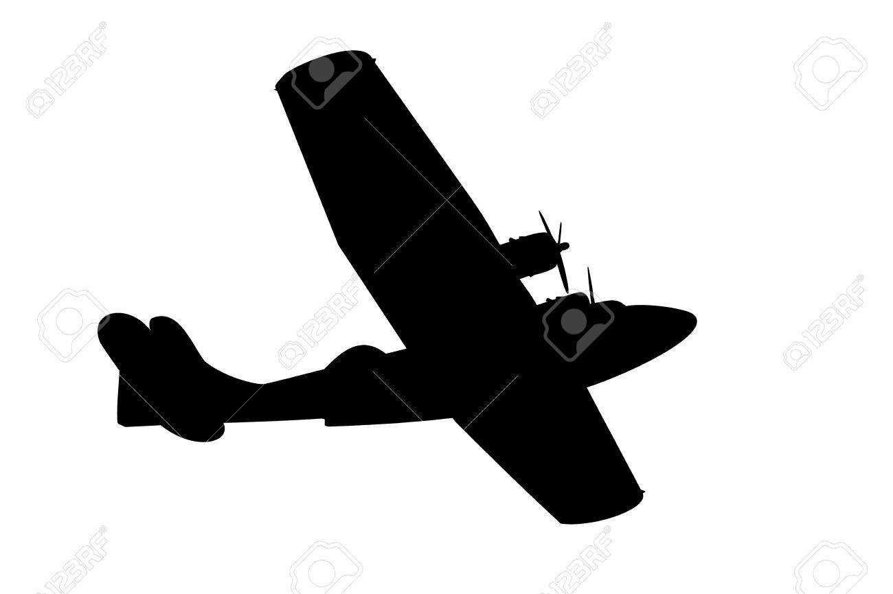 silhouette of a vintage propeller flying boat on white Stock Vector - 73274332